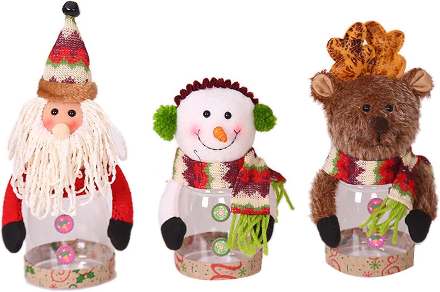 BTPOUY Safety and trust 3Pcs Christmas Candy Jar Storage Santa C Xmas Cute Bottle Seasonal Wrap Introduction