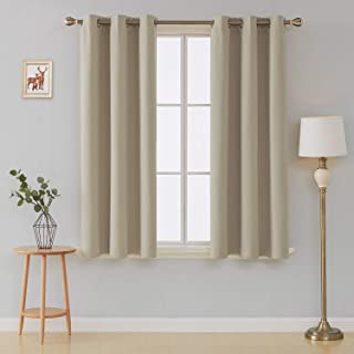 Deconovo Room Darkening Curtains Thermal Insulated Grommet Curtain 42x45 Inch Beige 2 Panels