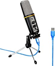 Aokeo's AK-6 Desktop USB Condenser Microphone, Best For Live Podcasting, Broadcasting, Skype, YouTube, Recording, Singing, Streaming, Video Call, Conference, Gaming, Etc. With Mount Stand, Plug & Play