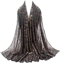 Women Chiffon Scarf, Fashion Long Shawl Wrap Soft Muslim Hijab with Sequin Decor