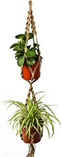 NEWCOMDIGI Plant Hanger Macrame Jute 4 Leg 40 Inch with Beads, Handmade Knotted Plant Hanger Rope for Indoor Outdoor Patio Deck Ceiling Pots,1 Rope for 2 Pots