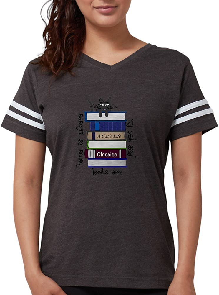 CafePress Home is Where Cat and Books are Football Shirt