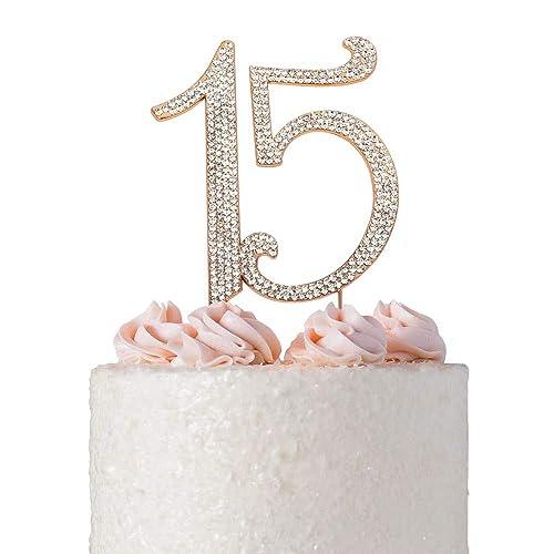 15 Quinceañera ROSE GOLD Birthday Cake Topper | Premium Bling Crystal Rhinestone Diamond Gems | 15th