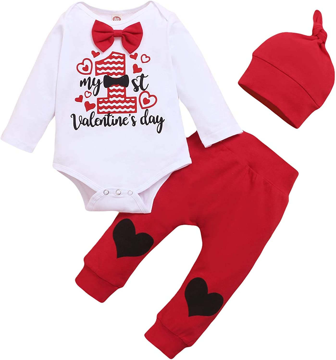 Newborn Baby Boys First Valentine's Day Outfit Romper Bodysuit Jumpsuit+Pants Fall Winter Clothes Set