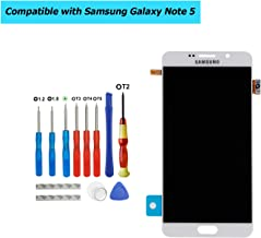 Upplus Super AMOLED Replacement Screen Compatible with Samsung Galaxy Note 5 N9200 N920 Super AMOLED Display Assembly Touch Screen with Toolkit (White)