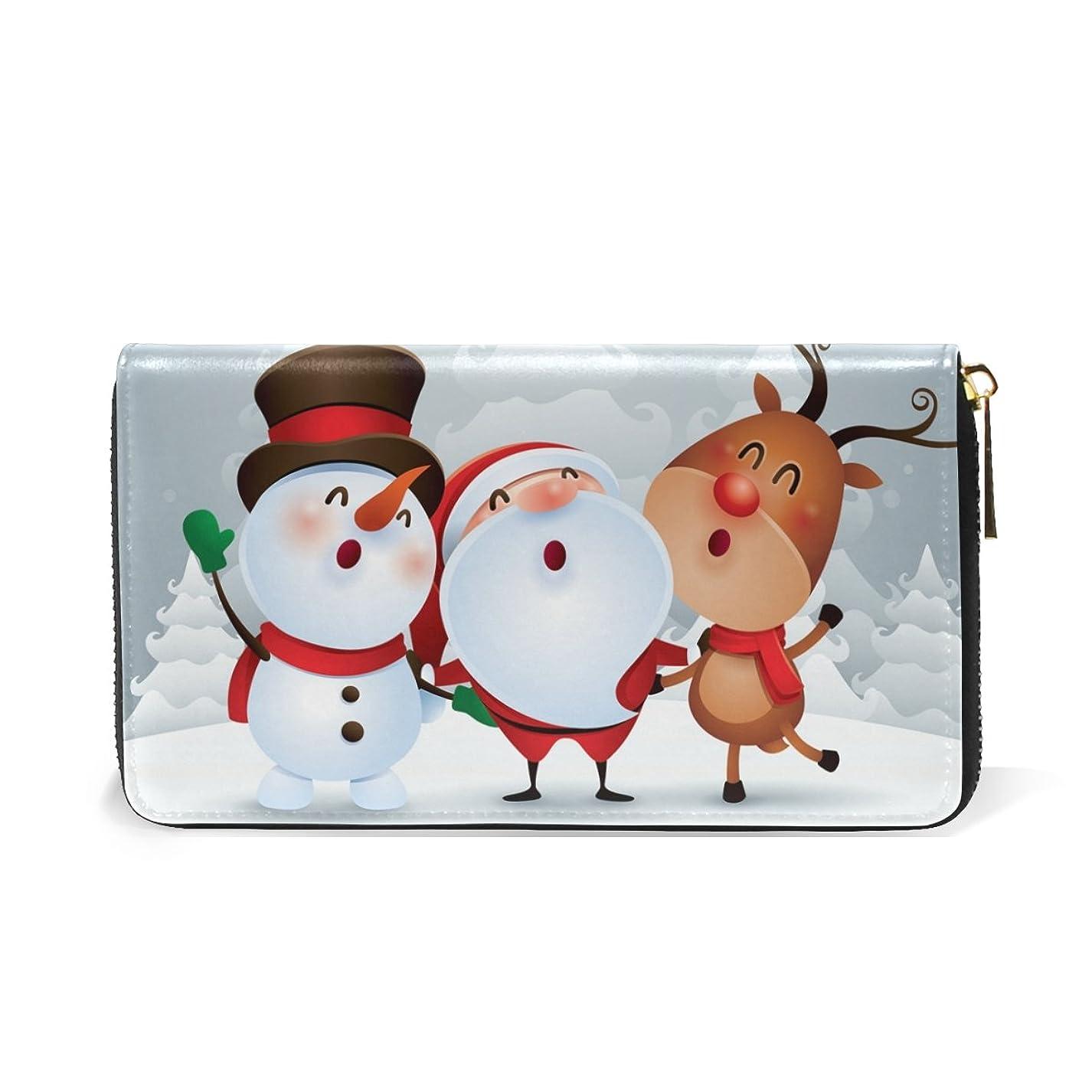 コーン特定のであるマキク(MAKIKU) 財布 レディース 長財布 本革 おしゃれ 大容量 ラウンドファスナー クリスマス かわいい 雪だるま サンタクロース カード12枚収納 プレゼント対応