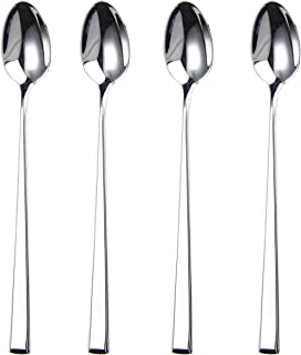 HISSF Iced Tea Spoon,Long Handle Spoon,Mixing Spoon,18/10 Stainless Steel Spoon,Set of 4-7.28 Inches…