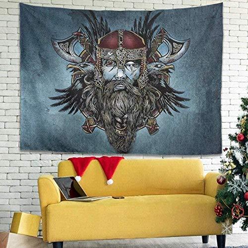 EDLSYTapiz Vikingo Odin Tapiz de Tela Tapiz Decorativo de Toalla Tapiz Colgante de Pared Hermosa decoración de Pared para Dormitorio Sala de Estar Toalla de Playa Manta de Picnic