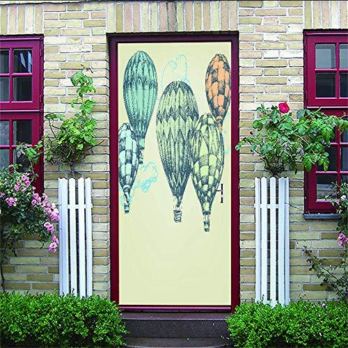 Türtapete Selbstklebend Türposter Heißluftballon Foto Gedruckt Selbstklebende Wandbilder Tür Aufkleber Vinyl Tür Tapete Für Schlafzimmer 88X200Cm