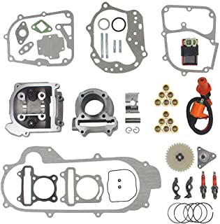 64mm Valve Big Bore Kit 100cc for GY6 49CC 50CC 139QMB Moped Scooter Engine 50mm Bore Upgrade Set with Racing CDI Ignition Coil Performance Spark Plug