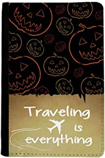 Pumpkin Tiling Pattern Halloween Traveling quato Passport Holder Travel Wallet Cover Case Card Purse