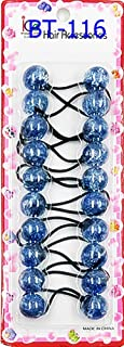 Crispy Collection Glitter Twinbead Bubble Ball Ponytail Elastics 10 Pieces (1 PACK, G-Blue)