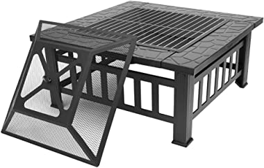"""Bonnlo 32"""" Outdoor Fire Pit with Barbecue/Cooking Grill and Rain Cover Square Metal Wood Burning Pit Backyard Patio Terra"""