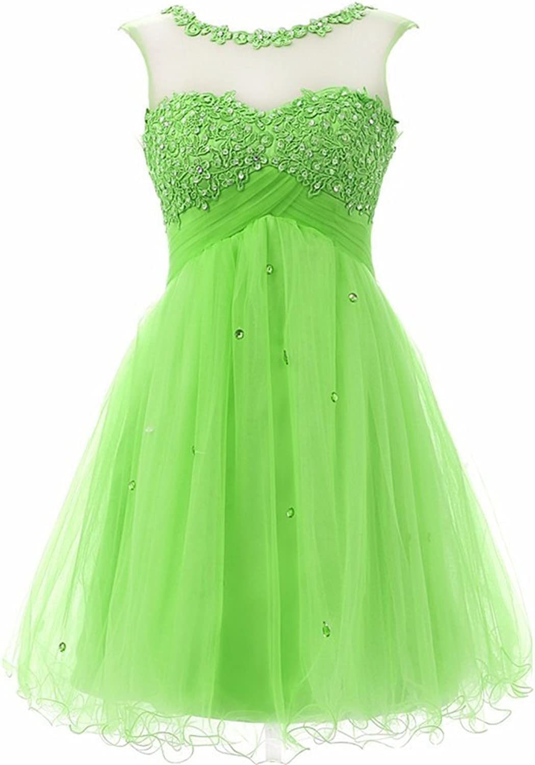 CharmingBridal Women's Scoop Tulle Homecoming Dress Short Prom Gown SD055