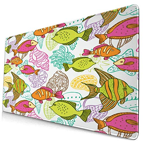 Extra Large Gaming Mouse Pad Japanese Style Aesthetic Digital Motley Koi Fish Marine Underwater Theme 15.8x29.5Inches Professional Desk Mats Keyboard Mousepad Table Mat