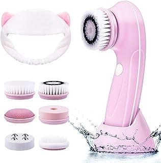 Cepillo de limpieza facial 6 en 1 limpiador eléctrico para masajear exfoliante IPX7 resistente al agua