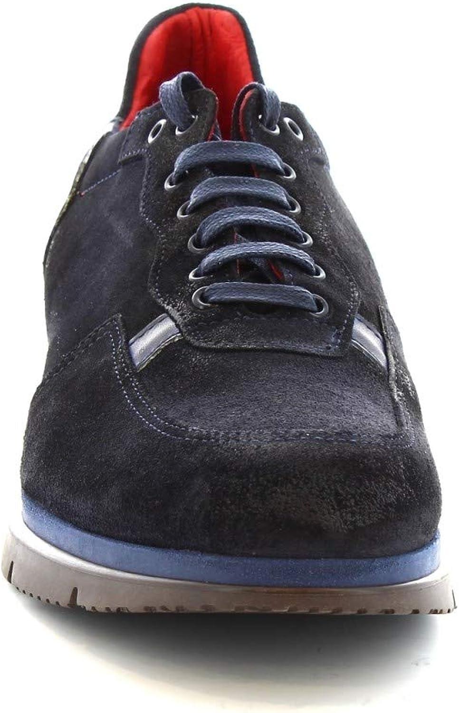 350-69 PE CAMOSCIO Blu Leonardo Shoes Scarpe Stringate Uomo Fatte a Mano in Pelle Scamosciata Blu Codice Modello