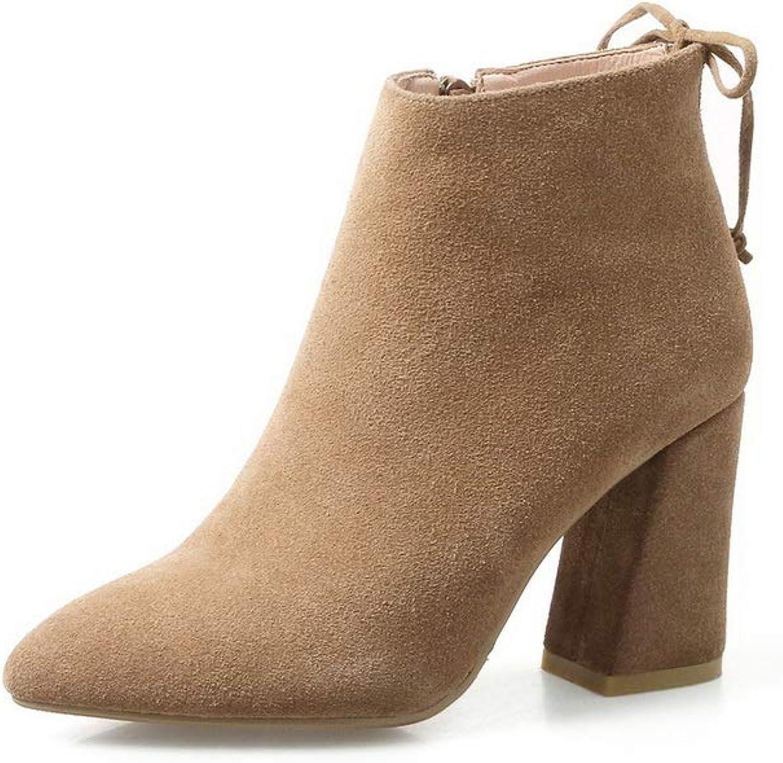 1TO9 Womens Nubuck Solid Kitten-Heel Urethane Boots MNS03484
