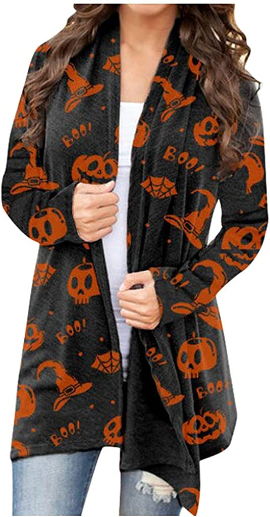Halloween Cardigas for Women, Womens Halloween Pumkin Bat Cardigan Open Front Sweartshirt Long Sleeve Top Coat Kawaii Blouse