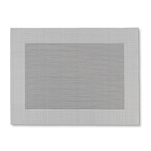 kela (6 x 12037 Sets de Table Nicoletta 6 TLG-3 Pièces, PVC, Argent/Noir, 45 x 33 x 1,5 cm