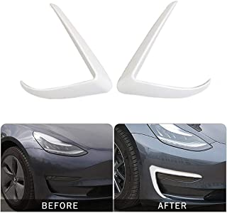 DokFin 2PCS ABS Carbon Fiber Stickers Front Fog Light Trim Cover for Tesla Model 3 (2017 2018 2019)
