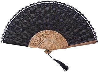 Folding fan Abanico Plegable, Ventilador de Tela Plegable Ventilador de la Mano de Encaje Negro Held abanicos de Seda Plegable con el Marco de bambú Ventilador de la Mano for la Fiesta de la Boda