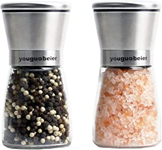 Stainless Steel Salt and Pepper Grinders refillable Set - Short Glass Shakers with Adjustable Coarseness for sea Salt, Bla...