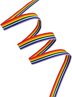 50 Yards Rainbow Ribbon Grosgrain Ribbons for Gift Wrapping Jewelry Making DIY Crafts Party Favors (10mm)