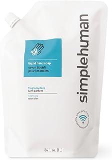 simplehuman Fragrance Free Liquid Hand Soap Refill Pouch, Clear 34 fl. oz