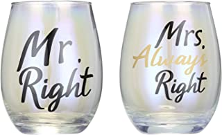 Mr. Right and Mrs. Always Right Glasses, CEDAR BRIGHT Stemless Wine Glasses Set Creative Gifts for Couple Bride Groom Anniversary Birthday Bridal Shower