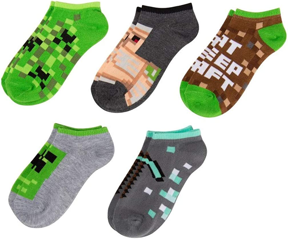 Minecraft Little Boys Character 5-Pack No-Show Socks, 7-10, Multicolor