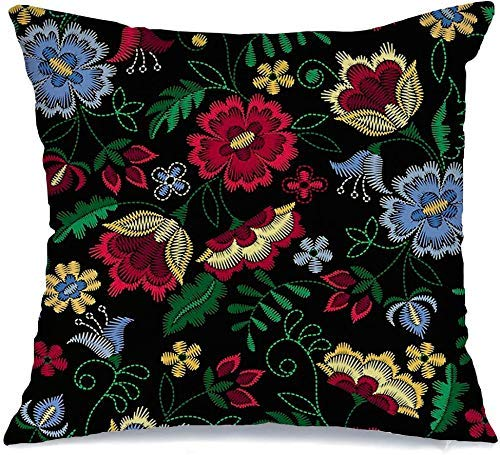 Funda de Cojine Throw CojínFlor Flores Rosa Patrón Adornado Folk Verano Textura Frontera moderna Naturaleza Obra de arte Khokhloma Neck Fundas para almohada 45X45CM