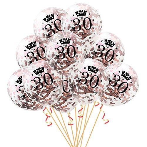 Oblique Unique® - Ballons et confettis pour anniversaire de 30 ans - Doré rose