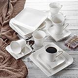 Vancasso, Gitana 18-teilig Kaffeeservice aus Weißem Porzellan, Kaffeeset für 6 Personen, Beinhaltet Kaffeetassen, Untertassen, Dessertteller - 5