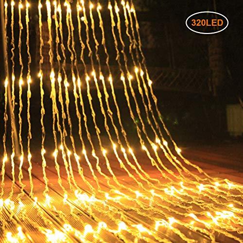 Mlamat Vorhang Lichterkette, 3X2 / 3X3M Wasserfall Vorhang Lichterkette Meteorschauer Regen Lichterkette für Schlafzimmer, Hochzeit, Weihnachten, Party und Pavillon