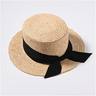 New Lafite Straw hat Spring and Summer hat Female Korean Version Flat top Short Ribbon Sun Visor Student Straw hat` TuanTuan (Color : Black)