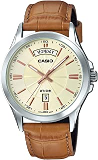 Casio #MTP1381L-9AV Men's Classic Leather Band 50M Day Date Gold Dial Watch