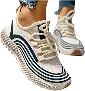 Amlaiworld Women's Sneakers Flat Sport Shoes Night Reflection Breathable Comfort Platform Thick Bottom Shoes