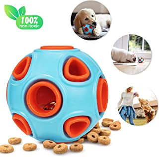 Skywoo Dog Toys Ball, Interactive IQ Treat Dog Chew Toys Food Dispensing Ball Toy Tough Durable Rubber Bite Resistant Pets Toys for Medium and Large Dogs