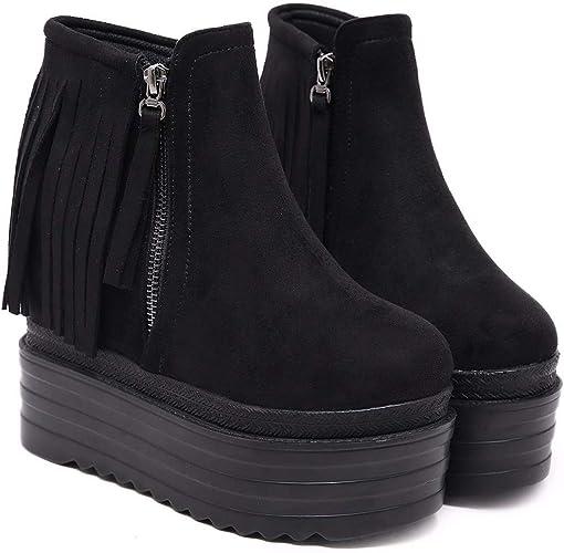 HBDLH Chaussures pour Femmes Super Talon Haut Bref des Bottes Chaussures en Haut 13Cm Muffin Talons D'épaisseur des Glands Bottes De Haut à L'Intérieur à La Mode Martin.