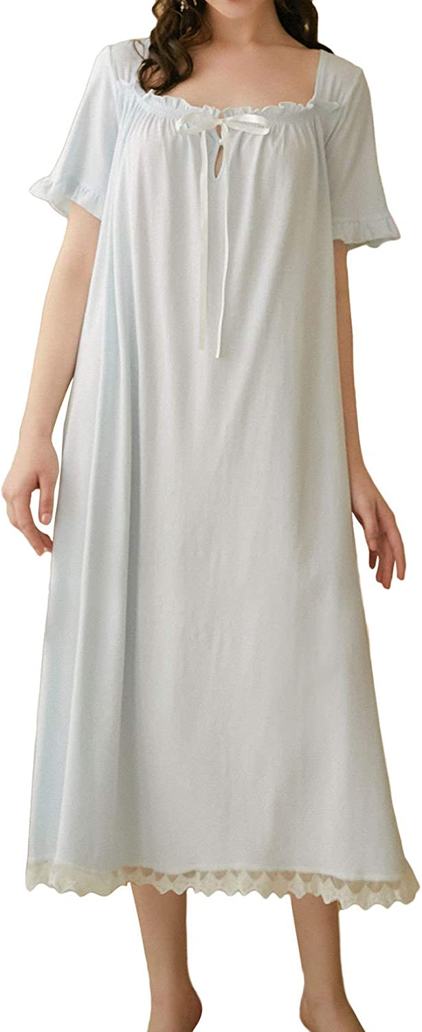 Lu's Chic Women's Victorian Free shipping on Clearance SALE! Limited time! posting reviews Nightgown Long Shor Cotton Sleepwear