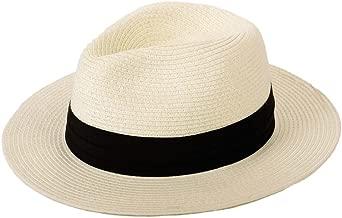 Anycosy Panama Straw Hats,Womens Sun Hat Summer Wide Brim Floppy Fedora Beach Cap UPF50+