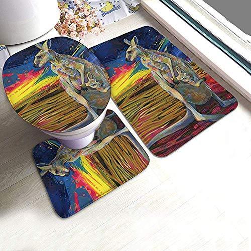 Gaby-Shop Personalisierte Kan-Garoo und Baby Badteppichmatten Set 3 Stück Anti-Rutsch-Pads Badematte + Contour + Toilettendeckel Abdeckung