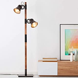 Lightbox Lampadaire rustique, 2 ampoules, culot E27 pour max. 10 W – Métal/bois, noir