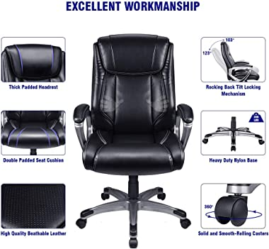 VANSPACE Executive Office Chair High Back EC01, Leather Executive Chair Bonded Leather Office Chair, Ergonomic Office Chair w