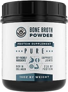 Bone Broth Protein Powder Pure Grass Fed Beef - Unflavored. Rich in Collagen, Glucosamine & Gelatin, Paleo Protein Powder, Gut-Friendly, Non-GMO, Dairy-Free Protein Powder(16oz)