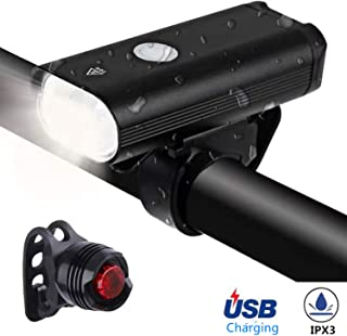 LZRYX Bicycle Headlight, USB Rechargeable 400 Lumen LED Bike Front Light Runtime 8+ Hours Mountain Road Cycling Safety Commuter Flashlight with 3 Modes, IPX3 Waterproof Bike Light