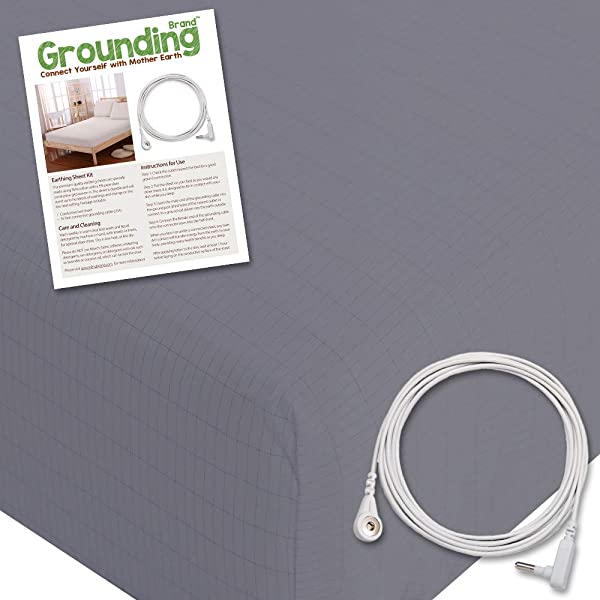 Grounding Brand Extra Deep Fitted Queen Size Sheet With Earth Connection Cable 400TC Conductive Mat With Pure Silver Thread For Better Sleep And Healthy Earth Energy Rich Grey