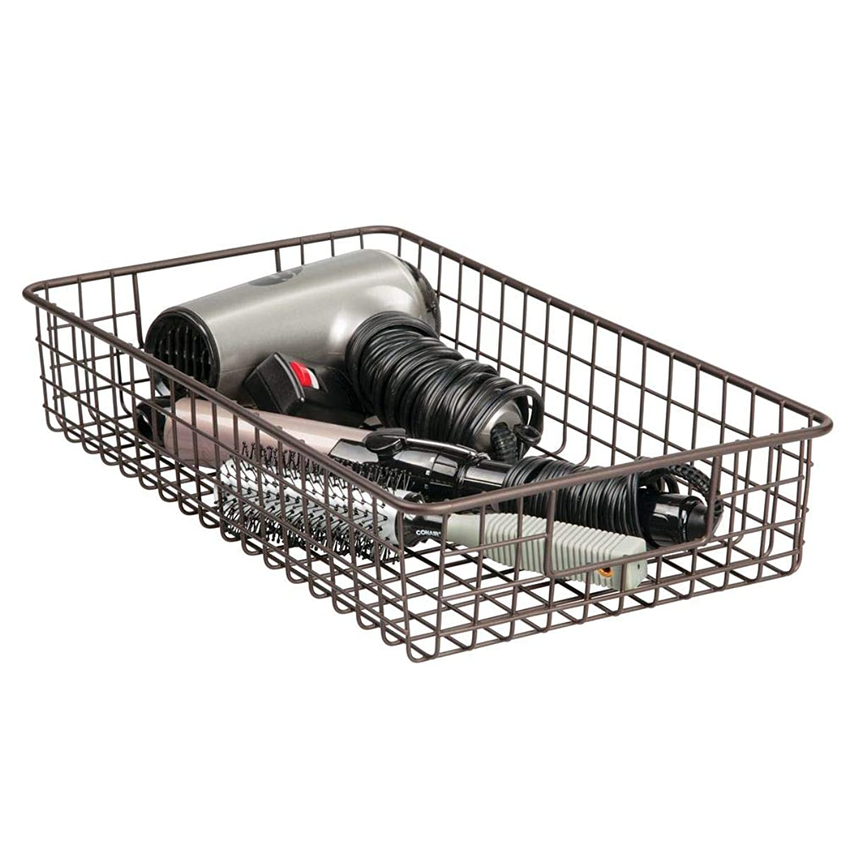 mDesign Farmhouse Decorative Metal Wire Bathroom Storage Organizer Bin Basket Holder Tray - for Cabinets, Shelves, Closets, Countertops, Bedrooms, Kitchens, Garage, Laundry - 16