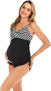 OUISISI Maternity Swimsuit Two Pieces Tankini Beach Wear for Plus Size Pregnant Suit